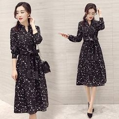 Lavogo - Long-Sleeve Star Chiffon Midi Dress