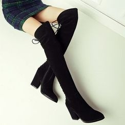 JY Shoes - Lace Up Heeled Over-the-Knee Boots