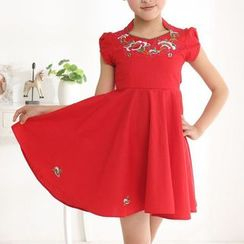 SEE SAW - Tulip-Sleeve Embroidery Dress