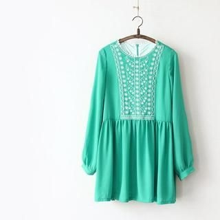 11.STREET - Long-Sleeve Embroidered Dress