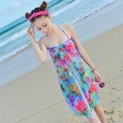 Rachel Swimwear - 套裝:花朵印花比基尼 + 圍巾