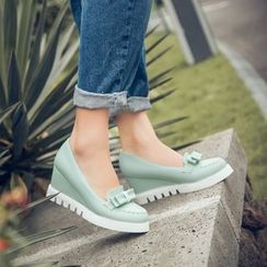Pastel Pairs - Bow Accent Wedge Loafer Pumps