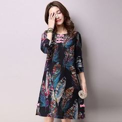 Diosa - Leaf Print Long Sleeve Dress