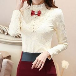 lilygirl - Long-Sleeve Stand Collar Lace Panel Blouse