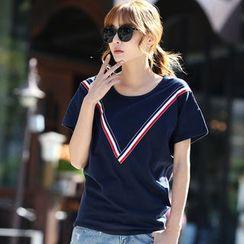 Pomelo - Contrast Trim Short-Sleeve T-Shirt