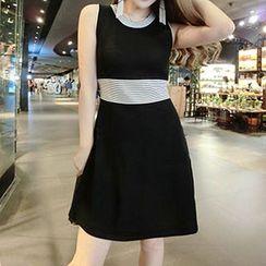 Coralie - Sleeveless Striped A-Line Dress
