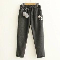 ninna nanna - 貼飾刺繡針織長褲