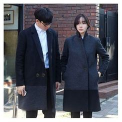Bay Go Mall - Two Tone Couple Matching Double-Breasted Coat