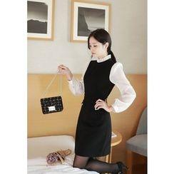 MyFiona - Frill-Collar Mock Two-Piece Mini Dress