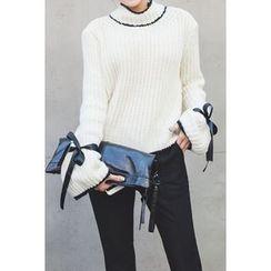 migunstyle - Tie-Detail Contrast-Trim Knit Top