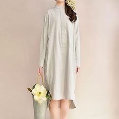 Yammi - Long-Sleeve Plain Linen Dress
