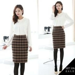 COCOAVENUE - Set: Lace-Collar Layered Chiffon Top + Patterned Pencil Skirt