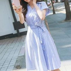 Romantica - Short-Sleeve Striped Dress