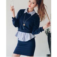 Dowisi - Set: Striped Mock Two-Piece Top + Mini Skirt