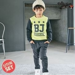 BILLY JEAN - Kids Set: Color-Block Lettering Sweatshirt + Faux-Fur Lined Pants