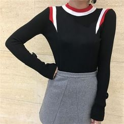 Dream Girl - Color Block Long-Sleeve Knit Top