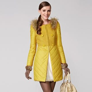O.SA - Wool-Blend Faux-Fur Trim Puffer Coat