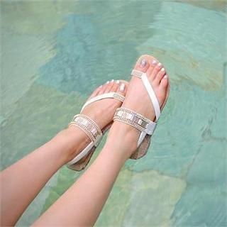 Styleberry - Toe-Loop Beaded Sandals
