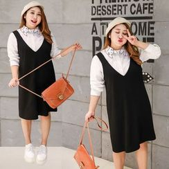 Inopine - Set: Cat Embroidered Shirt + V-Neck Pinafore Dress
