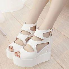 Simply Walk - Cutout Platform Wedge Sandals
