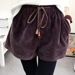 Heybabe - Drawstring Corduroy Shorts