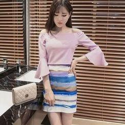 Maine - Set: Off-Shoulder Ruffled Top + Skirt