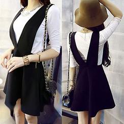 氣質淑女 - 套裝: 純色T恤 + V領吊帶裙