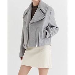Someday, if - Wide-Collar Diagonal-Zip Wool Blend Jacket