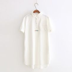Vateddy - Embroidered Short Sleeve Polo Dress
