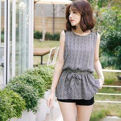 Tokyo Fashion - Printed Gathered Waist Sleeveless Top
