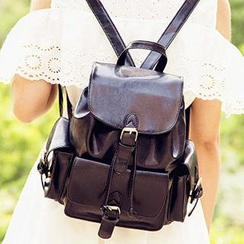 Sugar Plum - Belted Faux Leather Backpack