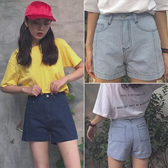 Dream Bear - High Waist Denim Shorts
