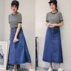 Romantica - Denim Long Skirt