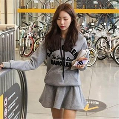 QNIGIRLS - Set: Hooded Lettering Sweatshirt + A-Line Skirt