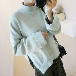 STYLEBYYAM - Mock-Neck Slit-Side Pullover