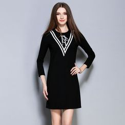 Cherry Dress - Long-Sleeve Contrast Trim A-line Dress