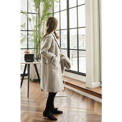 CHERRYKOKO - Notched-Lapel Single-Breasted Coat