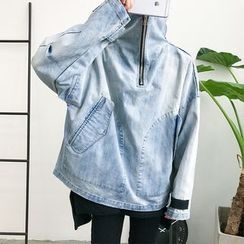 Chuoku - Washed Half Zip Denim Jacket
