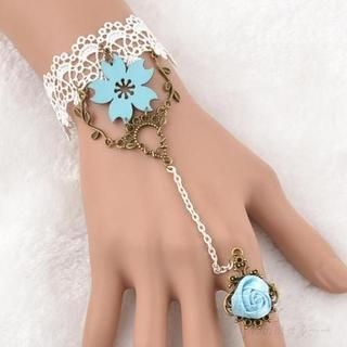 Trend Cool - Flower Accent Crochet Ring Bracelet
