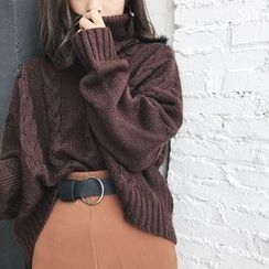 MePanda - Cable Knit Turtleneck Sweater