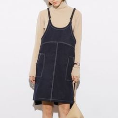 Heynew - Faux Leather Pinafore