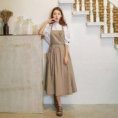 Seoul Fashion - Linen Blend Jumper Skirt with Sash