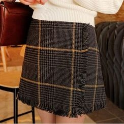 Aurora - Fringed Plaid Miniskirt