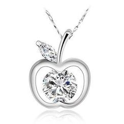 BELEC - White Gold Plated 925 Sterling Silver Apple Pendant with White Cubic Zirconia and 45cm Necklace