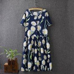 Blue Rose - Short-Sleeve Flower Print Dress