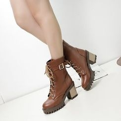Pastel Pairs - Buckled Block Heel Short Boots