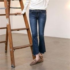 MAGJAY - Fray-Hem Boot-Cut Jeans