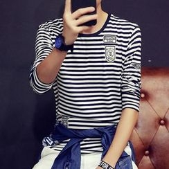 Jazzcool - Applique Stripe Long-Sleeve T-shirt