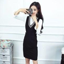Phyllis - Set : Plain Long-Sleeve Top + V-neck Sleeveless Dress