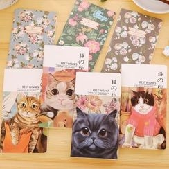 Fancy Mansion - Floral Print / Cat Print Notebook (S)